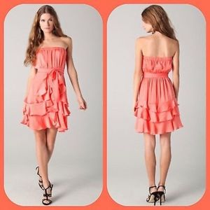 NWT Rebecca Taylor Silk Ruffle Dress Hot Coral